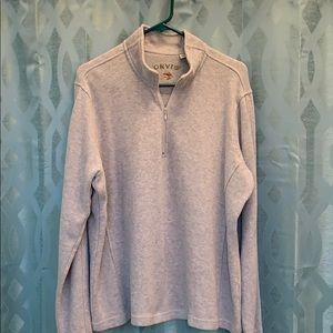 Orvis Men's XL long sleeve gray 1/4 zip sweatshirt